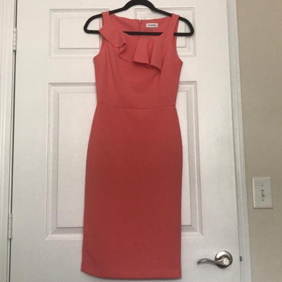 Calvin Klein Dresses & Skirts - Peach ruffle dress